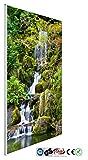 INFRAROT-HEIZUNG 600W-(1037)-Wasserfall Wald-60x100 cm-Bildheizung Heizpaneel Elektroheizung...