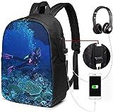 17in Laptop Rucksack mit USB Ladeanschluss Schultasche, Tauchcomputer Busin Rucksäcke für...