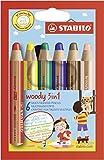 Buntstift, Wasserfarbe & Wachsmalkreide - STABILO woody 3 in 1 - 6er Pack - mit 6 verschiedenen...