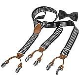 HBF Hosenträger mit den 6 starken Clips und Fliege KIT mehrfarbig elastisch Y-formig Länge für...