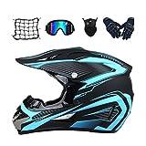 MRDEAR Motocross Helm Set (5 Stück/Schwarz und Blau) Cross Helm mit Handschuhe Brille Maske...