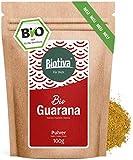 Guarana Bio Pulver - 100g reines Guaranapulver - Energizer - garantiert ohne Zusatzstoffe -...