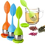Tee-Ei für lose Blätter, Silikongriff, Tee-Ei, Edelstahl-Sieb für Teekanne, Tasse – loser...