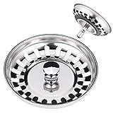 JIZZU 2 Stück Küchenspüle Sieb Abflusssieb, Edelstahl Abflussstopfen, Dauerhaft Siebkörbchen...
