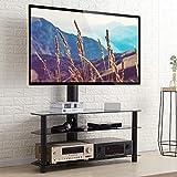 RFIVER Universal TV Ständer 110 cm breit für 32-65 Zoll Fernsehständer Rack Fernsehtisch Glas...