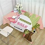 ZHAOXIANGXIANG Rechteckige Tischdecke,Tropische Pflanzen Flamingo Brief Drucken Home Decor...