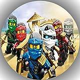 FONDANT Tortenaufleger Tortenfoto Foto Bild kompatibel mit Ninjago rund ca. 20 cm A31
