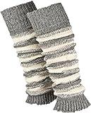 Piarini 1 Paar geringelte Stulpen Damen - warme Bein-Stulpen in Strick - Wolle in One-Size...