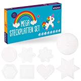 Smowo - 8 Bügelperlen Platten in vielen Formen - Steckplatten Set - Stifftplatten - Rund, Stern,...