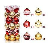 Delan 24 Stück Weihnachtskugeln Ornamente Kunststoff bruchsicher Christbaumschmuck bruchsicher...