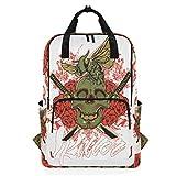 Blume Schädel japanische Samurai Schwert Rose Rucksack Schulreise Tagesrucksack Laptop College...