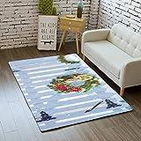 KFEKDT Cartoon Teppich Schlafzimmer Kinderspielmatte Soft Velvet Santa Tree Geschenkbereich Teppich...