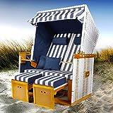 BRAST Strandkorb Nordsee XXL Volllieger Blau Weiß gestreift incl. Schutzhülle 2 Sitzer 120cm breit...