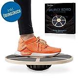 SportyAnis® Premium Balance-Board Holz inkl. Übungsbuch und optional Unterlegmatte, Durchmesser 40...