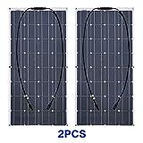QWERTOUR 200W Solarpanel Monokristalline Solarzelle Flexible für Auto/Yacht/Steamship 12V 200...