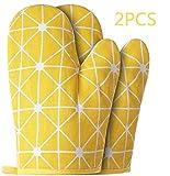 Ofenhandschuhe – 1 Paar gelbe Grillhandschuhe und hitzebeständig mit schwer entflammbaren...