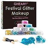 Glitzer Make up für Gesicht, Körper und Haare – Chunky Festival Glitzer Gel für Lippen, Body...