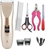 FANPING Pet Clippers, Profi for Akku Kosmetik-Trimmer-Haar-Elektrorasierer Kit mit 2 Comb Guides...