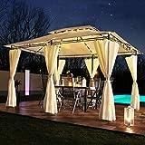 Swing & Harmonie Luxus LED - Pavillon 3x4m Minzo - inkl. Seitenwände mit LED Beleuchtung +...