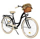 Milord. 28 Zoll 3-Gang, schwarz und Creme, Komfort Fahrrad mit Korb und Rückenträger, Hollandrad,...