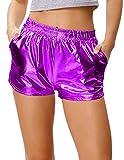 Kate Kasin Hotpants Metallic Hochwertiger Sport Wet Look Shiny Metallic Shorts Lila (862-7) X-Large
