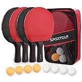 Tischtennisschläger Set, 4 Tischtennis-Schläger + 8 Tischtennisbälle Tischtennis Schläger Set...