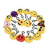 Zindoo Kindergeburtstag 16 Emoji Schlüsselanhänger Plüsch Tasche Anhänger 6cm Spielzeug Plüsch...