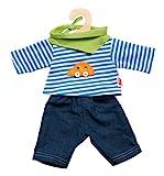 Heless 2315 - Bekleidungsset für Puppen, 3 teilig, Jeans mit Streifenshirt und pfiffigem Halstuch,...
