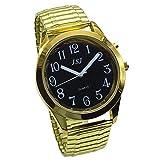 Sprechende Armbanduhr, analog, mit Alarm, Uhrzeit und Datum auf Französisch, für Sehbehinderte,...