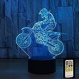 BFMBCHDJ 3D Motocross Fahrrad Nacht Fernbedienung oder Touch Control Illusion Tischlampen 7 Farben...