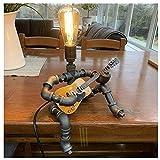 Roboter Steampunk Stil Vintage Tischlampe, Retro Industrie Eisen Wasserrohr Tischleuchte Loft...