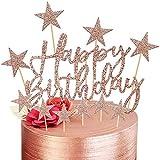 Happy Birthday Tortendeko Geburtstag, 2 Sets Rosegold Kuchendeko Girlande Cake Torten Kuchen Topper,...