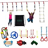 LLZZJ Ninja Warrior Hindernissparks für Kinder - 50 Fuß Slackline Ninja Line Monkey Bars Kit & AMP...