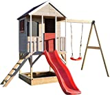 Wendi Toys M9 Summer Adventure House & Plattform & Rutsche | Kinderspielhaus aus Holz auf 90 cm...