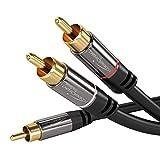KabelDirekt - Cinch Audio Y-Kabel - 5m - (Koaxialkabel geeignet für Verstärker, Stereoanlangen,...