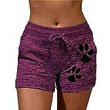 N\P Sommer-Shorts mit Pfotenabdruckmotiv, elastisch, hohe Taille, lose Shorts Gr. 5X-Large, violett