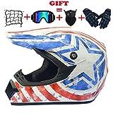 EDK Motocross-Helm Adult Motorrad MTB Integralhelm Set mit Dirt Bike Brille Handschuhe Maske...