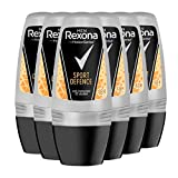 Rexona Sport Defence 6 x Deo Roll-On Men, 6er-Pack Deodorant für Herren (6 x 50 ml)