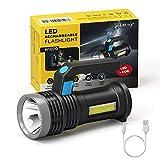 LETMY LED Taschenlampe USB Aufladbar, Extrem Hell Taschenlampe mit COB Arbeitsleuchte und Griff, 4...