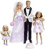 Barbie DJR88 - Traumhochzeit Puppen Geschenkset, mit Ken, Chelsea, Stacie und Zubehör, Puppen...