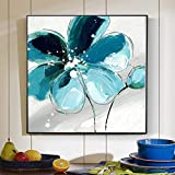 YuanMinglu Blumenlgemlde auf Leinwand groes hellblaues abstraktes Blumenbild Wohnzimmerwandplakat...