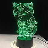 Wfmhra Katze 3D Nachtlicht Tier Wechselbare Stimmungslampe LED 7 Farben USB 3D Illusion Tischlampe...