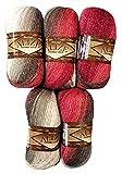 5 x 100 g Alize Glitzerwolle Mehrfarbig mit Farbverlauf und Glitzer, 500 Gramm Metallic - Wolle mit...