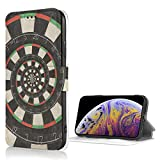 MKDIJIUWL Spiral Dart Board Droste Stofest iPhone X/XS Hlle Leder Case Card Slot Flip Case