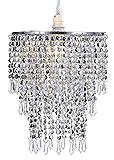 Waneway 3 Stufiger Perlen Decken Kronleuchter Anhänger Lampenschirm mit Acryl Juwelen Tröpfchen,...