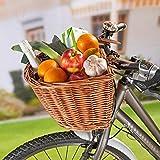 3 Pagen Fahrradkorb vorne aus Weide, abnehmbar, einfache Befestigung mit 2 Kunstleder-Riemen,...