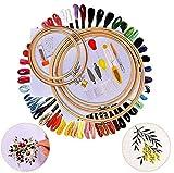 JuguHoovi 50 Farbe Fäden Stickerei Set, Kreuzstich Set Stickgarn Kit mit 5 Stück Bambus...