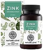 NATURE LOVE® Zink - 25mg - 365 Tabletten (1 Jahr) - Hochdosiertes Zink-Bisglycinat (Zink Chelat)...