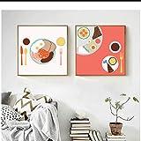 sjkkad Warme Amerikanische Frühstücksmesser und Gabeln Dessert Küche Wand-dekor Leinwand Malerei...