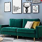 Schlafsofa Eckcouch Schlafcouch Ecksofa Modernes Samtgewebe-Sofa 2-sitzer 180cm (smaragd)